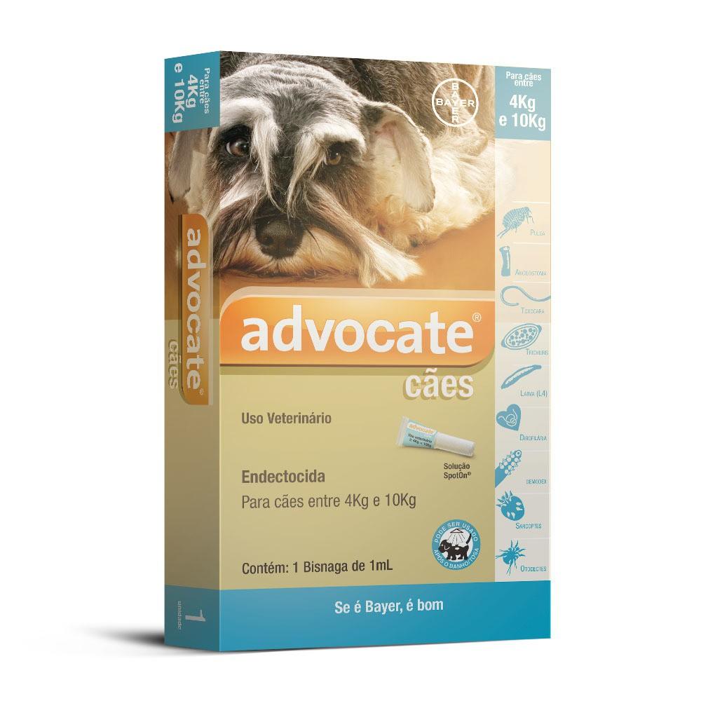 Antipulgas bayer advocate 1.0ml para cães de 4 a 10kg