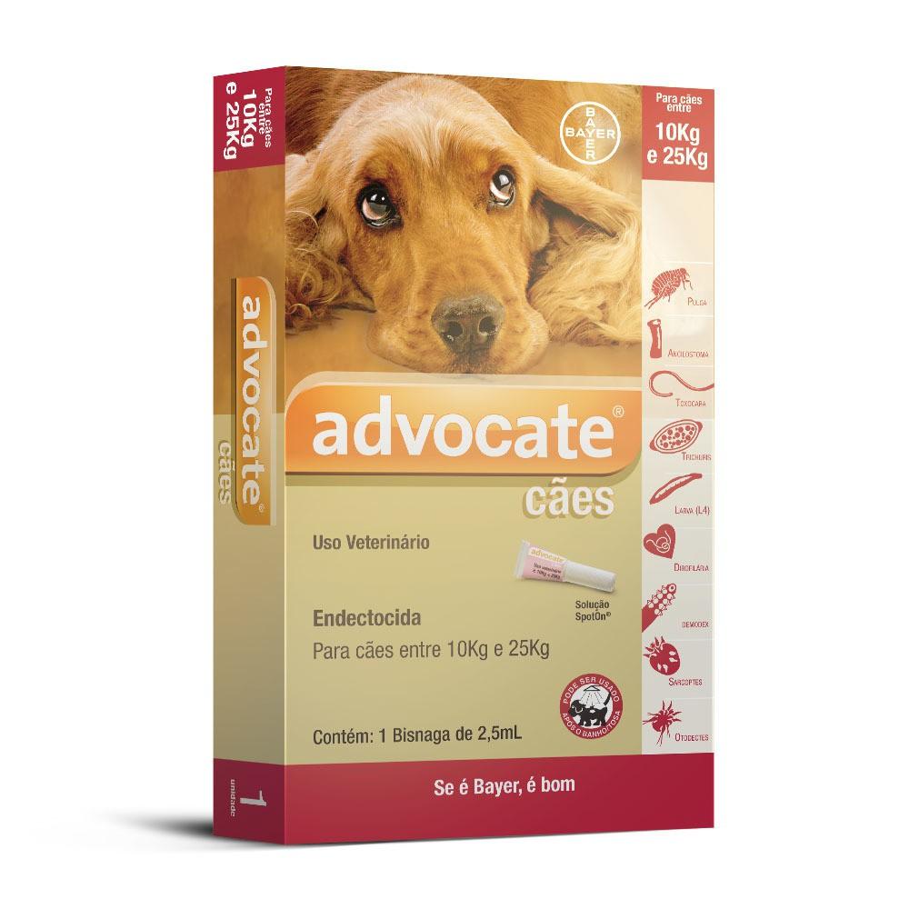 Antipulgas bayer advocate 2.5ml para cães de 10 a 25kg