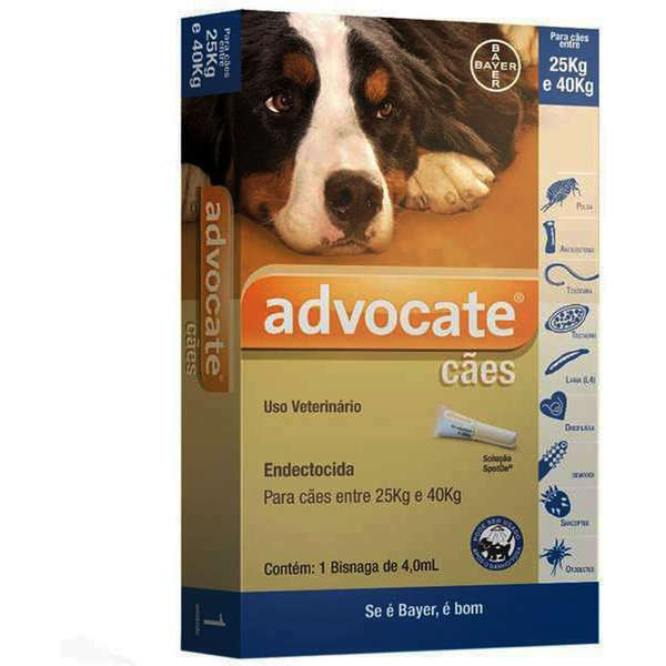 Antipulgas bayer advocate 4.0ml para cães de 25 a 40kg