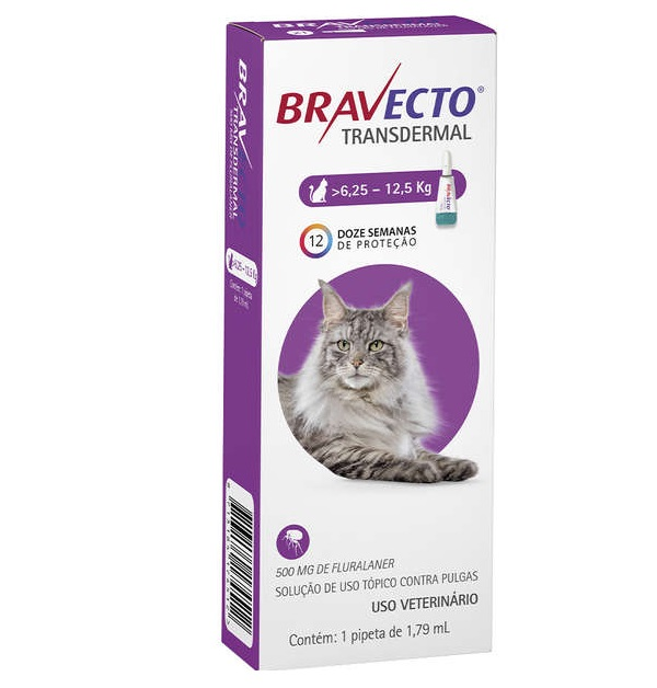 Antipulgas Bravecto Transdermal para Gatos de 6,25 a 12,5Kg - 1 Pipeta
