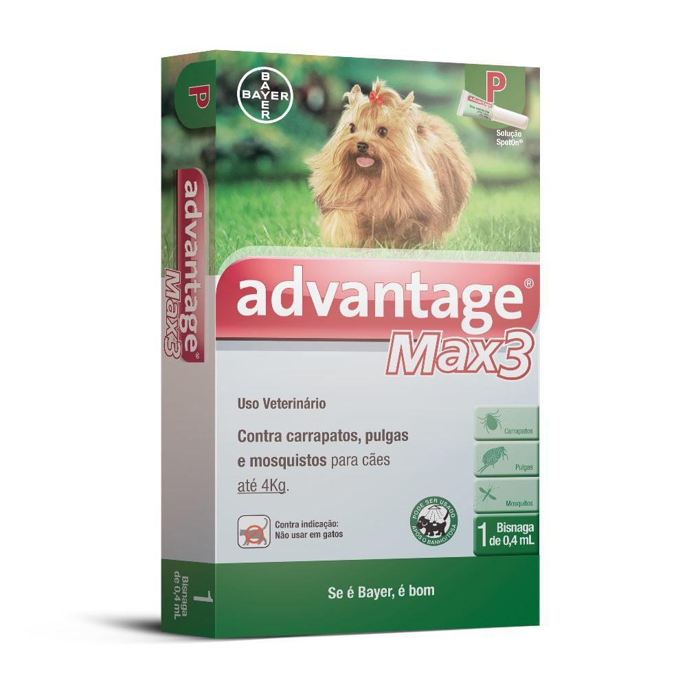 Antipulgas e carrapatos bayer advantage max3 com 0,4ml para cães até 4kg