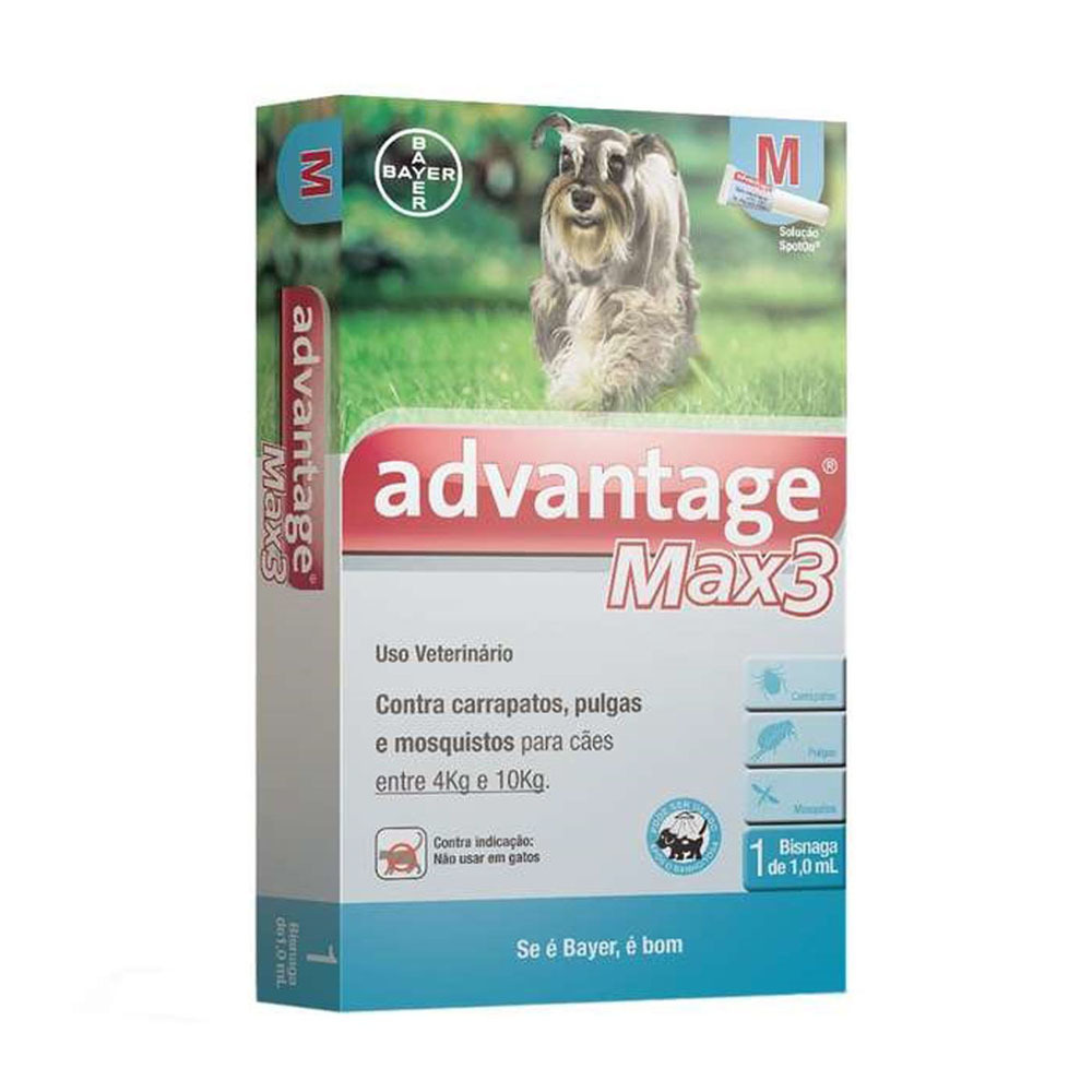 Antipulgas e carrapatos bayer advantage max3 com 1ml para cães de 4 a 10kg