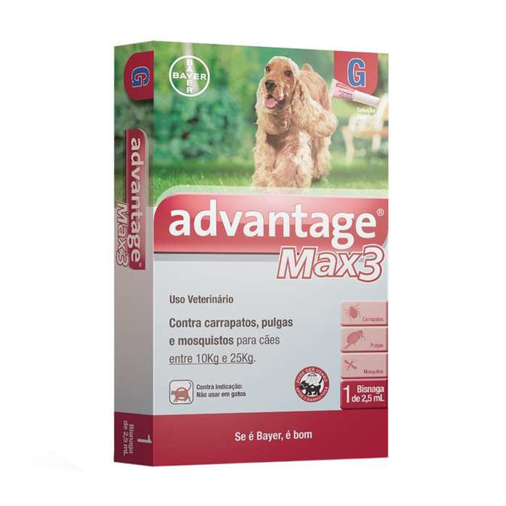 Antipulgas e carrapatos bayer advantage max3 com 2,5ml para cães de 10 a 25kg