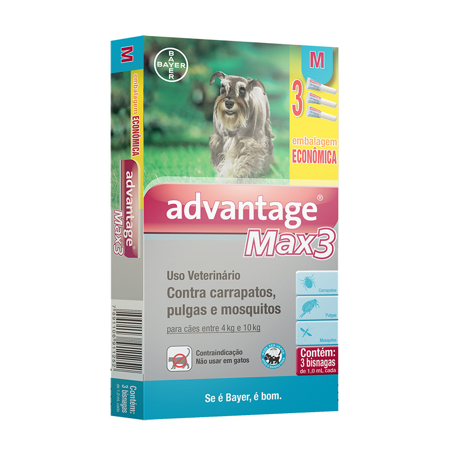 Antipulgas e carrapatos combo bayer advantage max3 com 1ml para cães de 4 a 10kg