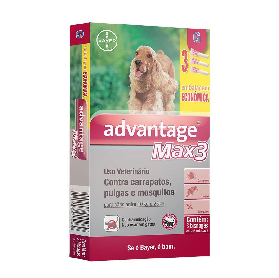 Antipulgas e carrapatos combo bayer advantage max3 com 2,5ml para cães de 10 a 25kg