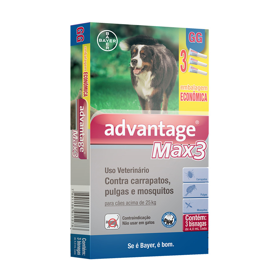 Antipulgas e carrapatos combo bayer advantage max3 com 4ml para cães acima de 25kg