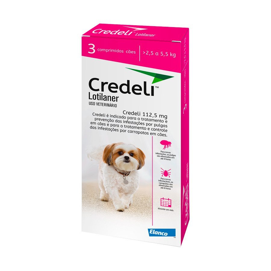 Antipulgas e carrapatos elanco credeli para cães 2.5 a 5.5kg - 112.5mg