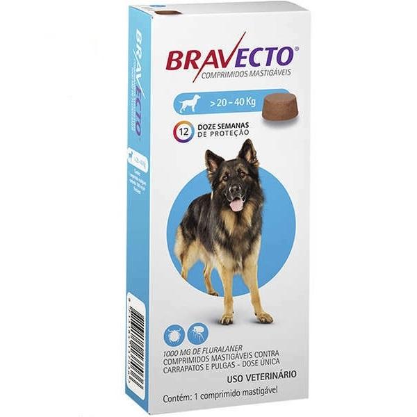 Antipulgas e carrapatos msd bravecto para cães de 20 a 40kg