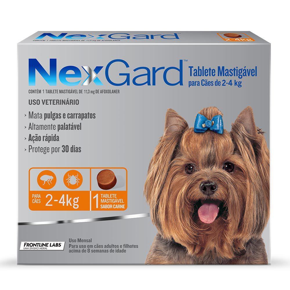 Antipulgas e Carrapatos NexGard 11,3mg para Cães de 2 a 4kg