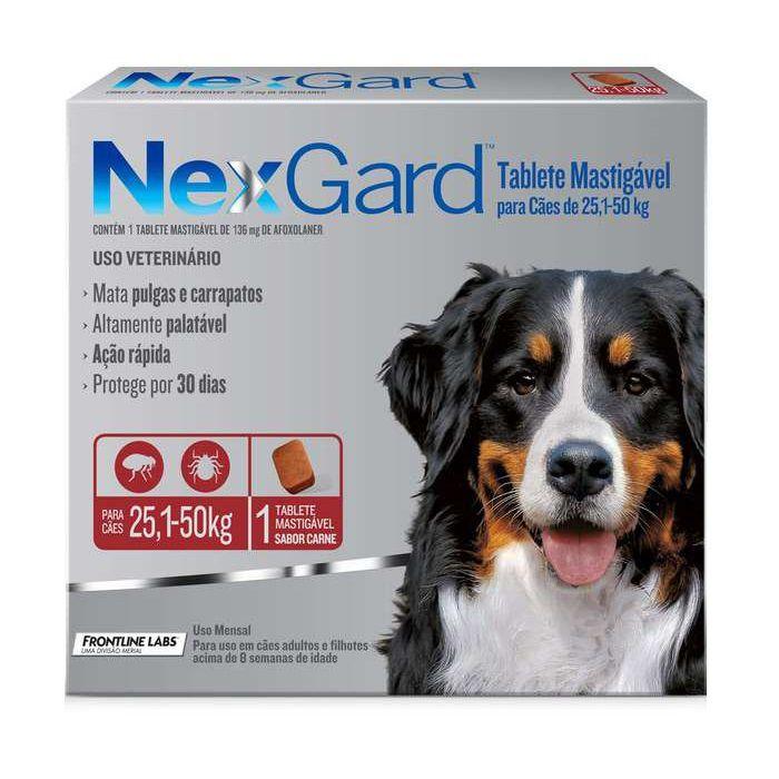 Antipulgas e Carrapatos NexGard 136mg para Cães de 25,1 a 50kg