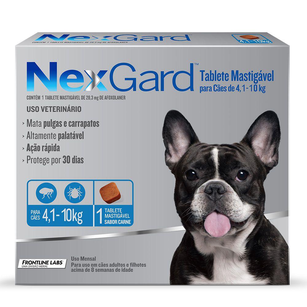Antipulgas e Carrapatos NexGard 28,3mg para Cães de 4,1 a 10kg