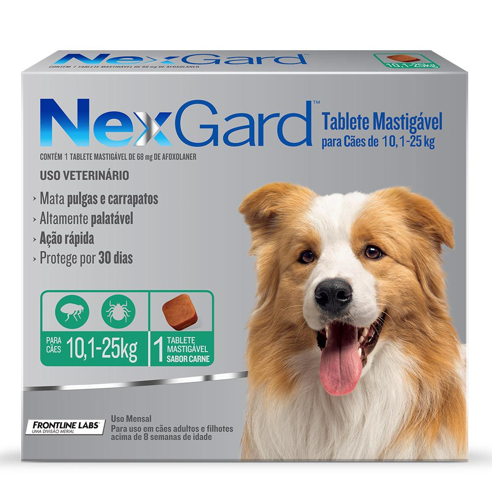 Antipulgas e Carrapatos NexGard 68mg para Cães de 10,1 a 25kg