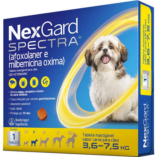 Antipulgas e Carrapatos NexGard Spectra para Cães de 3.6 a 7.5 Kg