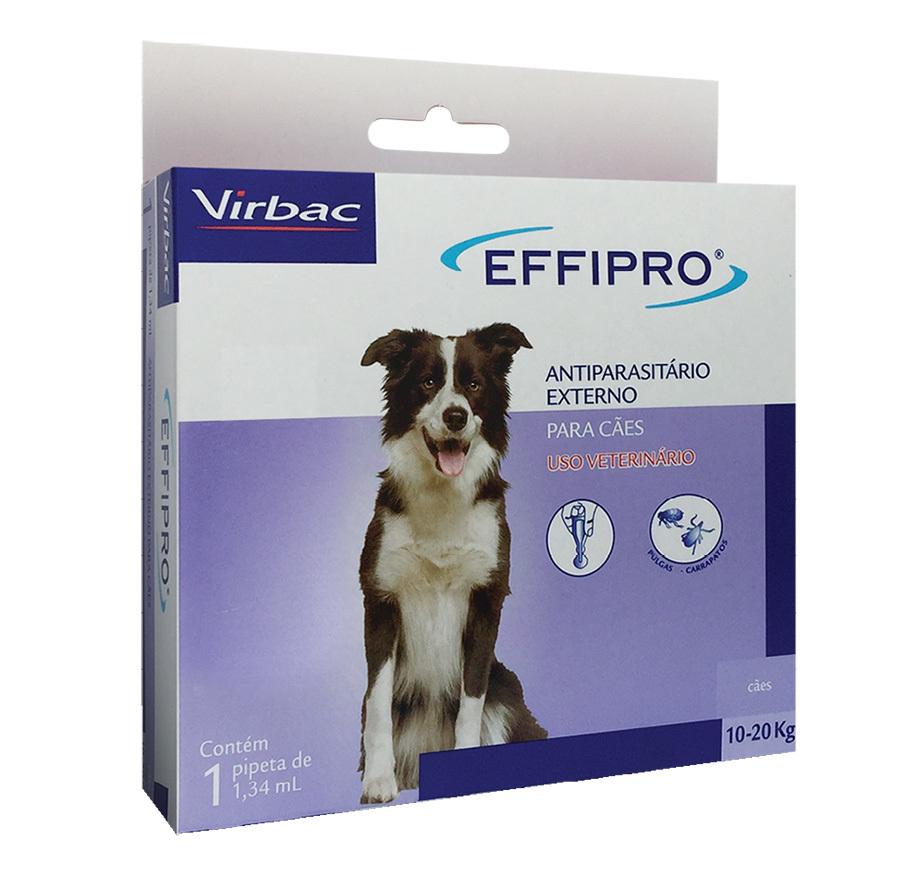 Antipulgas e carrapatos virbac effipro 1,34 ml para cães de 10 até 20kg