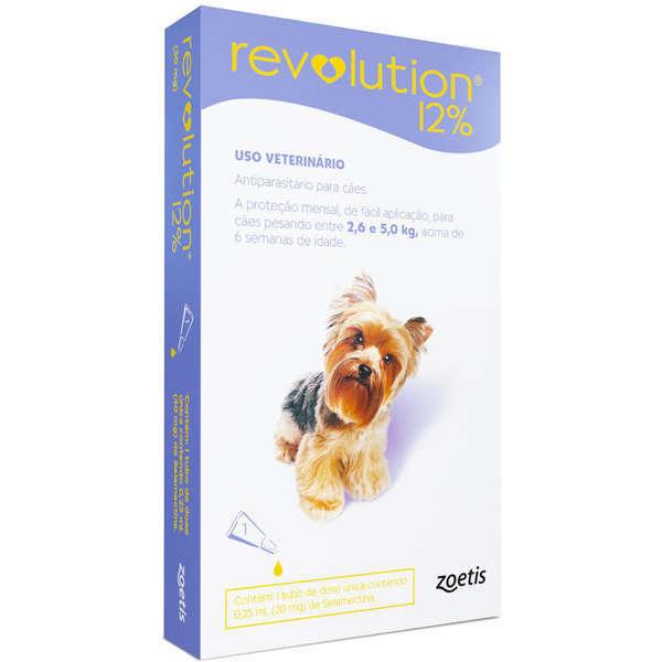 Antipulgas e carrapatos zoetis revolution 12% para cães de 2.6 a 5kg - 30 mg