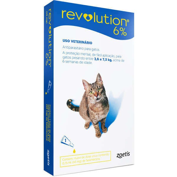 Antipulgas e carrapatos zoetis revolution 6% para gatos de 2.6 a 7.5kg- 45mg