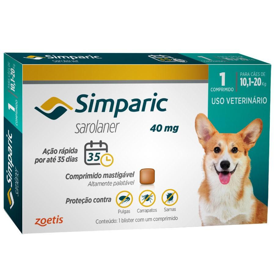 Antipulgas e Carrapatos Zoetis Simparic 40mg para Cães 10.1 a 20kg