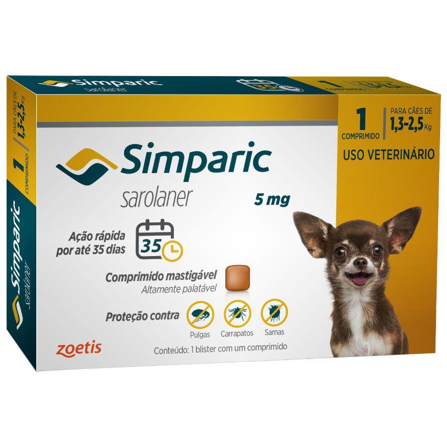 Antipulgas e Carrapatos Zoetis Simparic 5mg para Cães 1,3 a 2,5kg