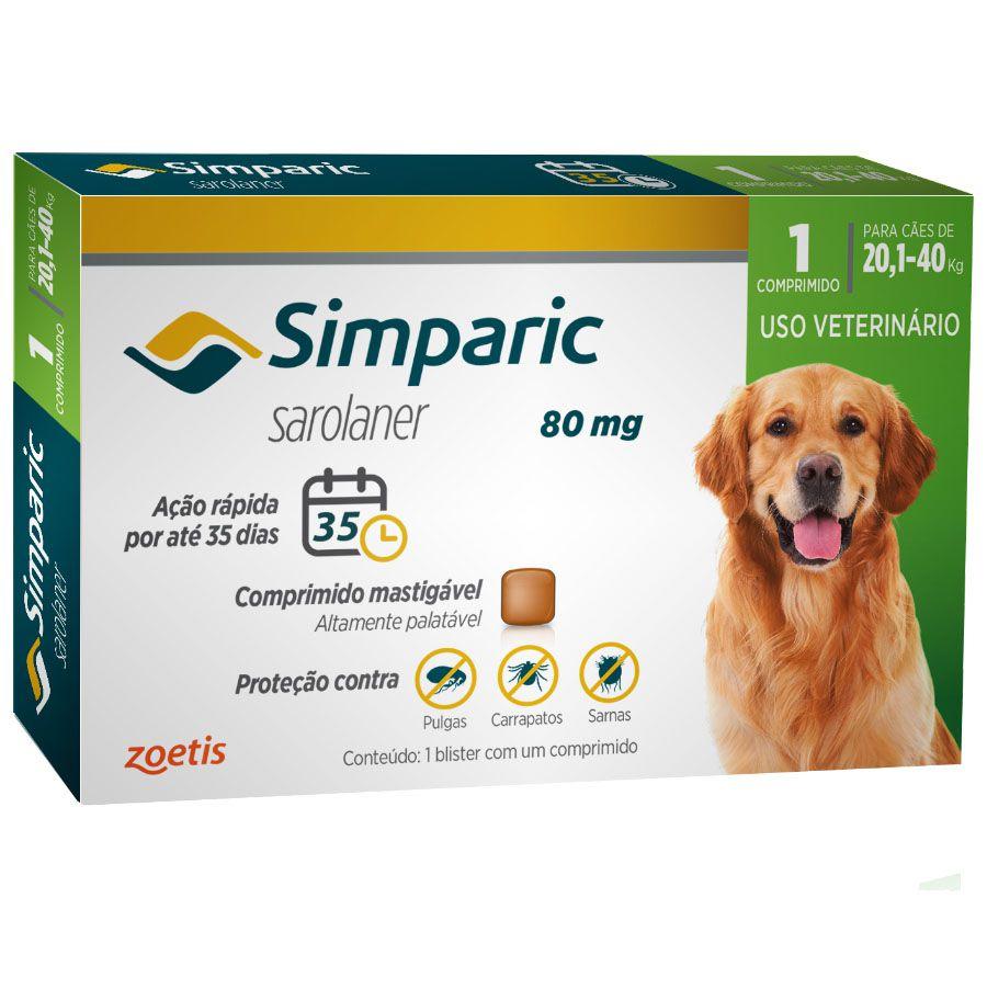 Antipulgas e Carrapatos Zoetis Simparic 80mg para Cães 20,1 a 40kg