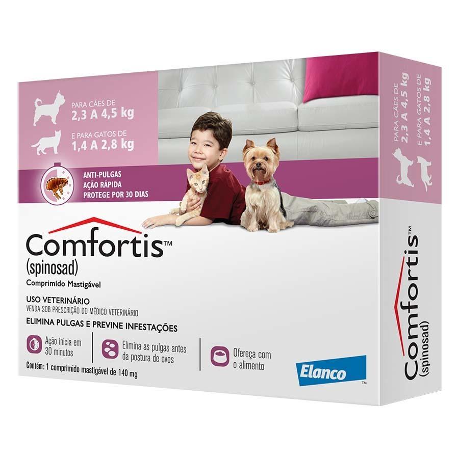 Antipulgas elanco comfortis 140mg para cães de 2,3 a 4kg e gatos de 1,4 a 2,8kg