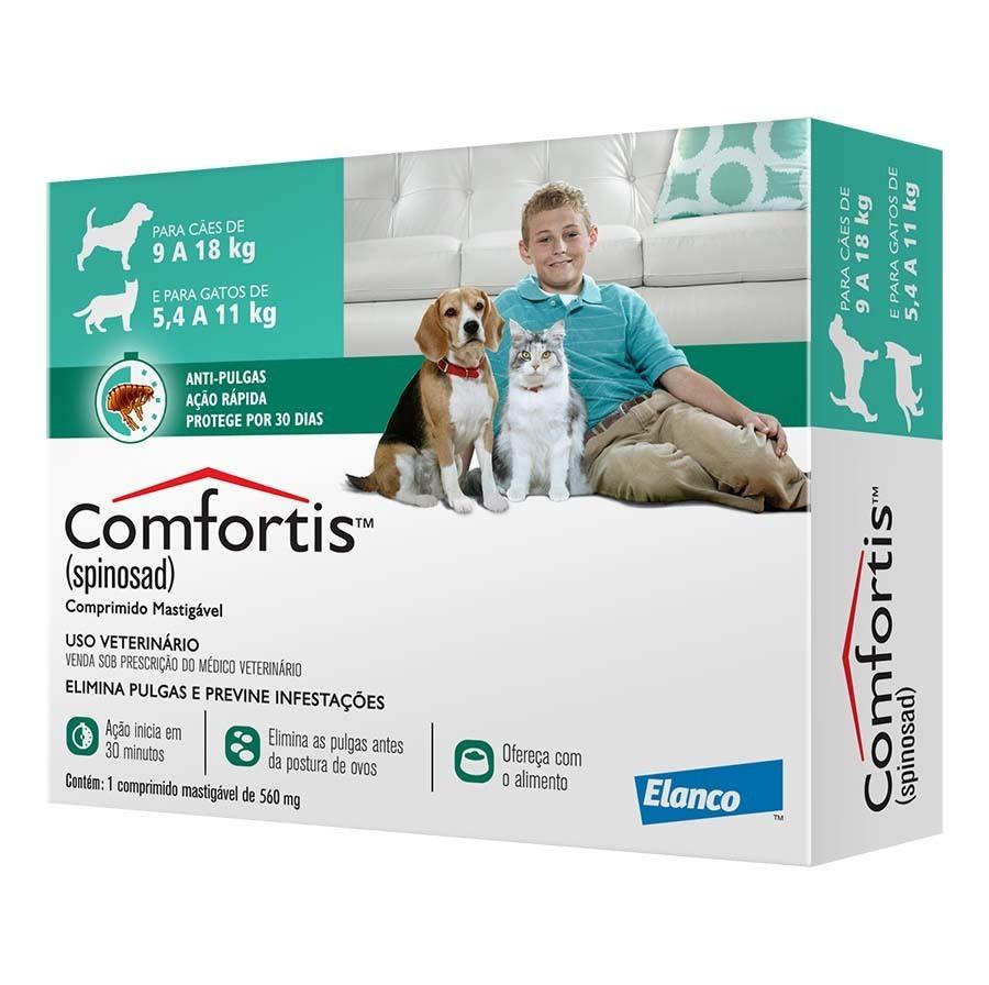 Antipulgas elanco comfortis 560mg para cães de 9 a 18kg e gatos de 5,5 a 11kg