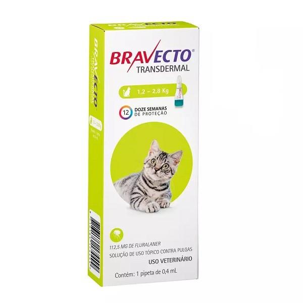 Antipulgas msd bravecto transdermal 0.4ml para gatos 1,2 a 2,8kg