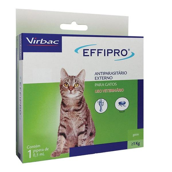 Antipulgas virbac effipro 0,5ml para gatos com 1kg ou mais