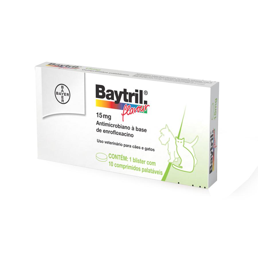 Bactericida bayer baytril flavour 15mg para cães e gatos com 10 comprimidos