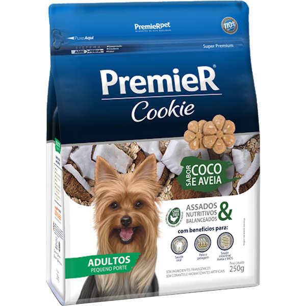 Biscoito premier cookie coco e aveia para cães adultos pequeno porte 250g