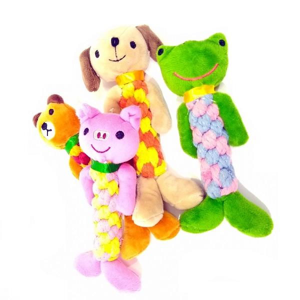 Brinquedo pelucia com corda trança