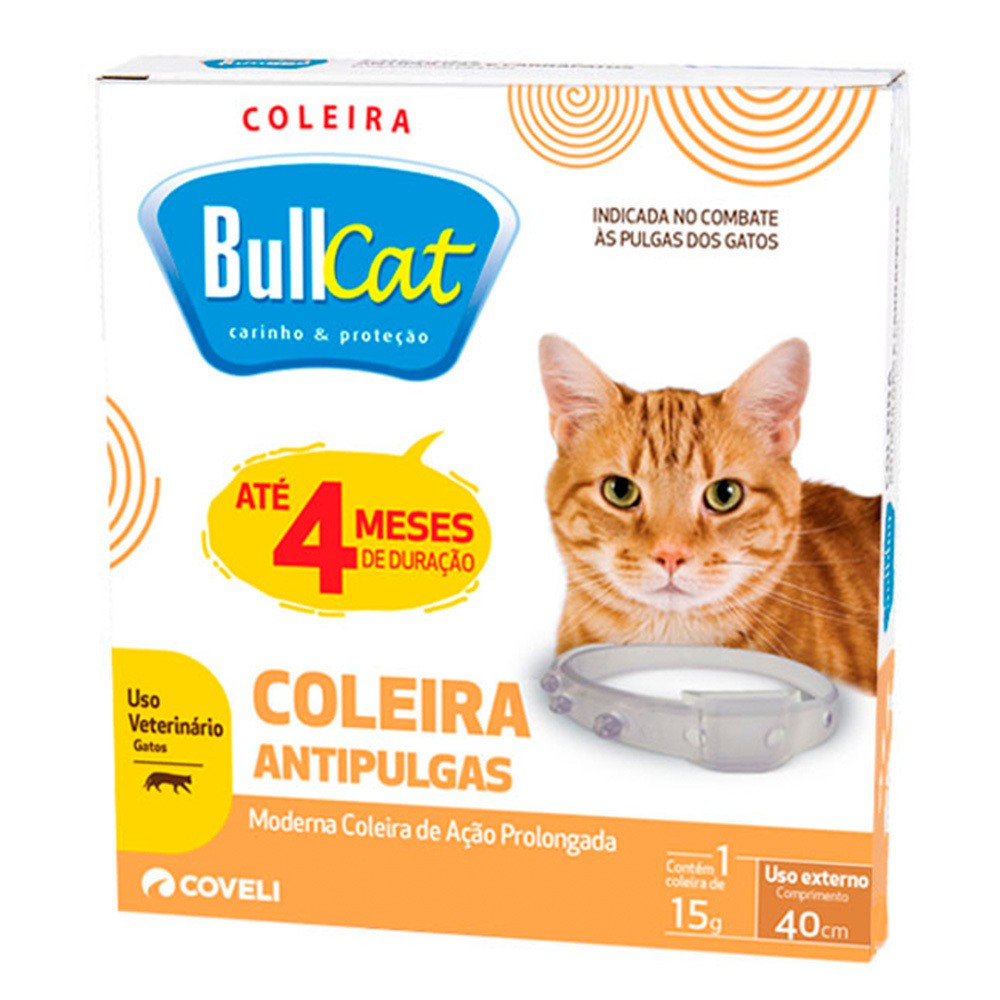 Coleira antipulgas coveli bullcat para gatos 15g com 40cm