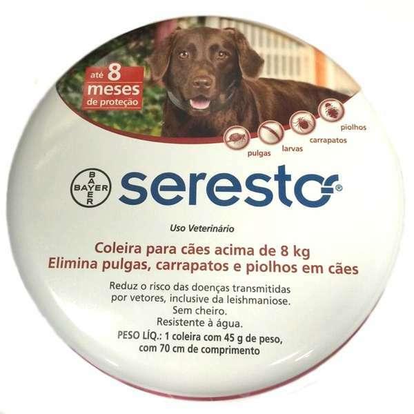 Coleira antipulgas e carrapatos bayer seresto para cães e gatos acima 8 kg