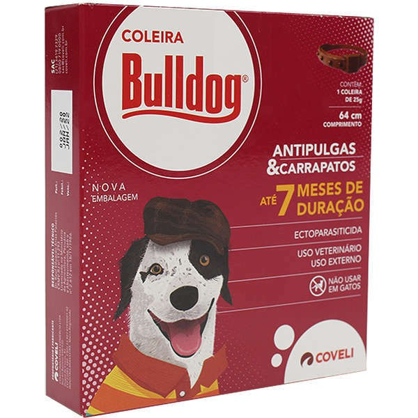 Coleira Antipulgas e Carrapatos Coveli Bulldog 64cm