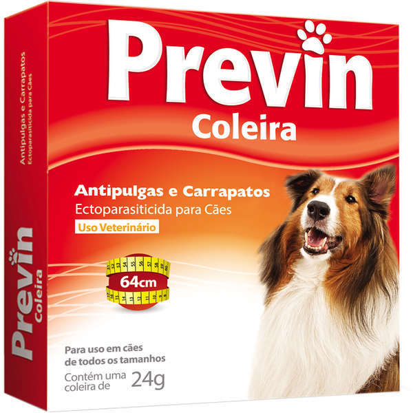 Coleira antipulgas e carrapatos coveli previn para cães 64cm