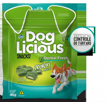 Petisco dog licious dental fresh snacks crunchy raças pequenas 45g