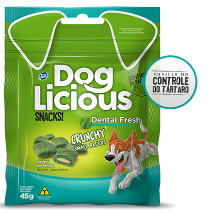 Petisco dog licious dental fresh snacks crunchy raças pequenas 45g