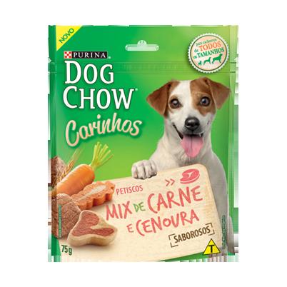 Petisco purina dog chow carinhos mix de carne e cenoura 75g