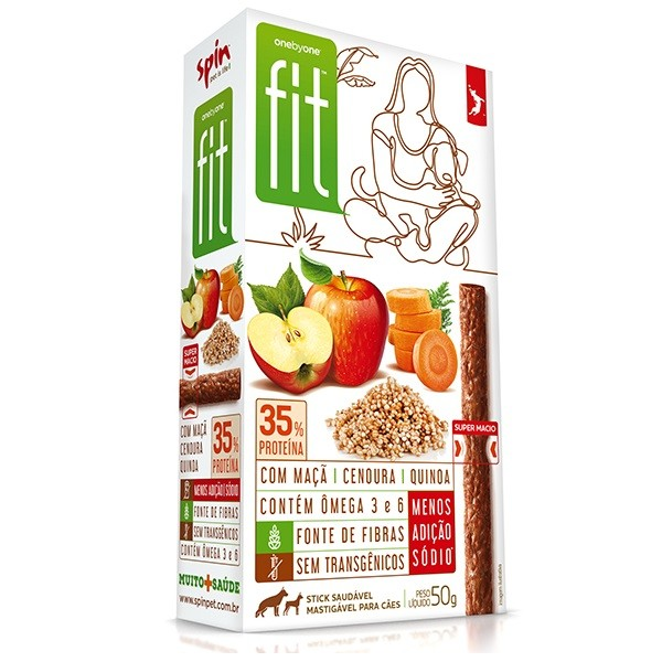 Petisco Spin Pet Stick Fit maçã, cenoura e quinoa 50g