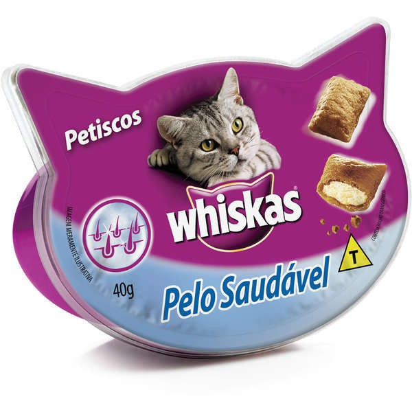 Petisco whiskas temptations pelo saudavel 40g