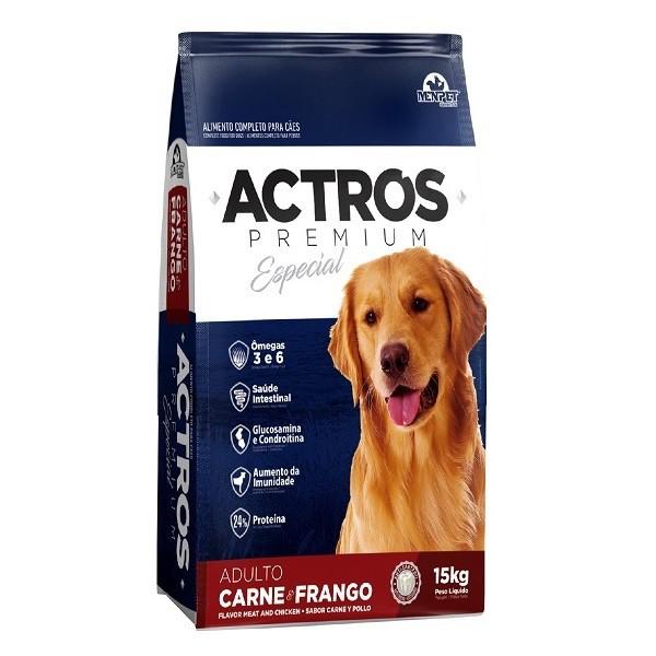 Ração actros cães adulto carne e frango 15kg
