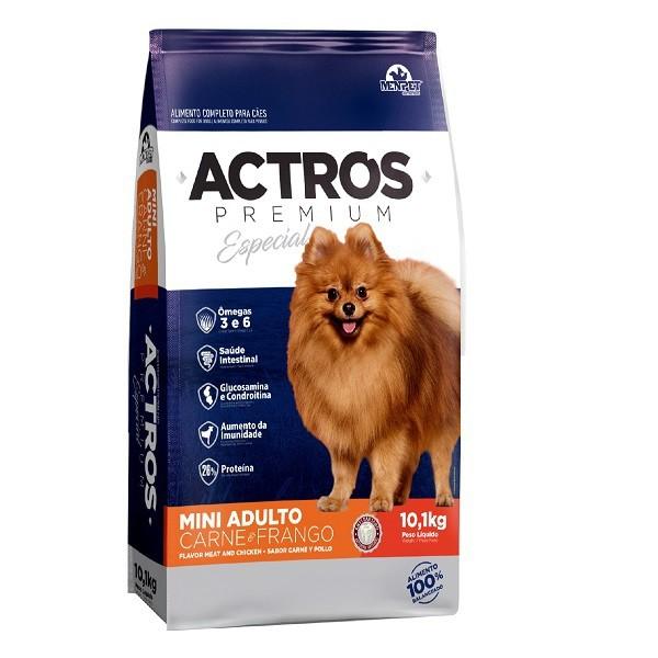 Ração actros cães adulto mini sabor carne e frango 10kg