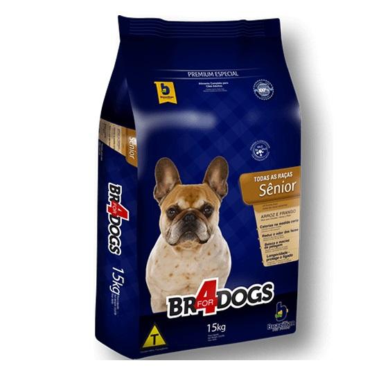 Ração br4dog senior frango e arroz para cães adultos 15kg