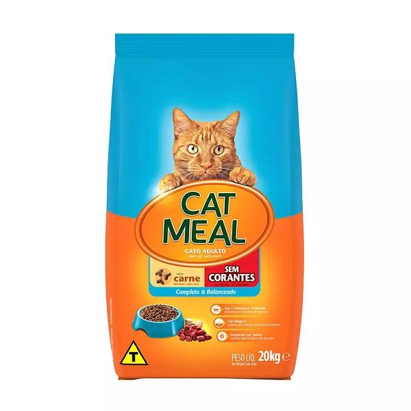 Ração cat meal carne sem corante para gatos 20kg