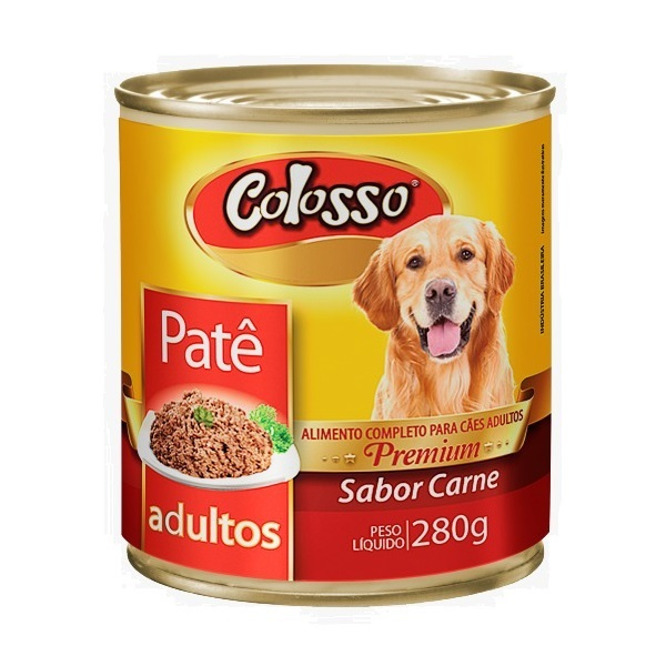 Ração colosso lata para cães adulto carne pate 280g