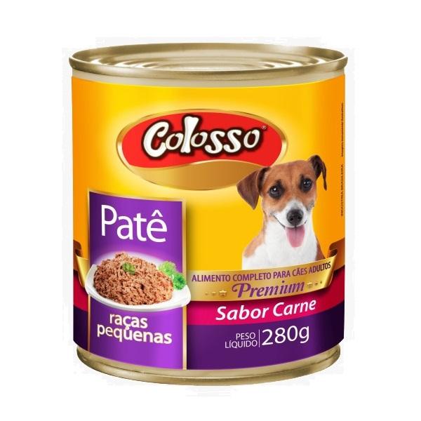 Ração colosso lata para cães adulto raças pequenas carne pate 280g