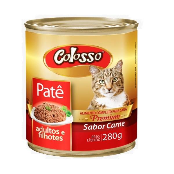 Ração colosso lata para gatos carne pate 280g