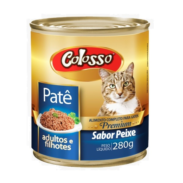 Ração colosso lata para gatos peixe pate 280g