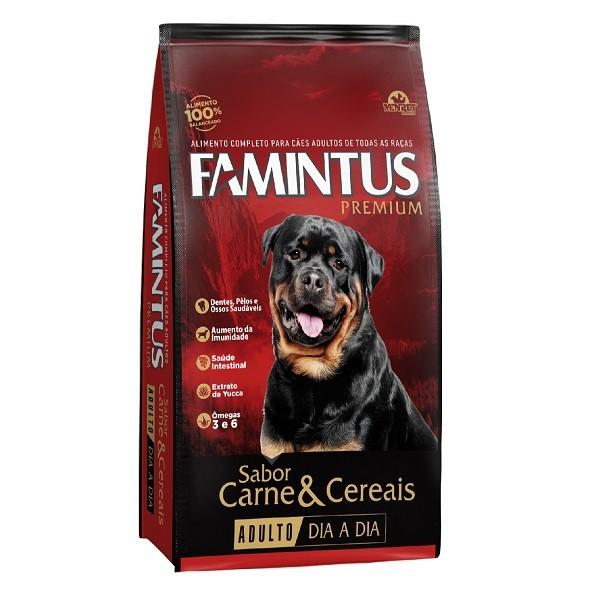 Ração famintus dia a dia cães adulto sabor carne e cereais