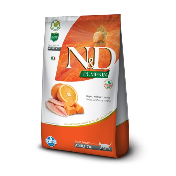 Ração Farmina N&D Pumpkin Tilápia, Abóbora e Laranja para Gatos Adultos