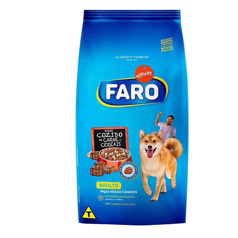 Ração faro cozido de carne e cereais para cães adultos raças médias 15kg
